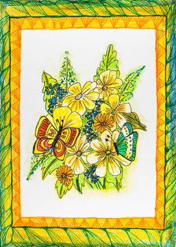 Blütenstrauß mit Schmetterlingen in Zentangle Darstellung