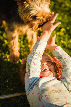 Child with a yorkshire dog ona green grass in backyard having fun. Child with dog at home concept