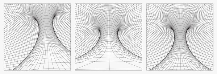 Grid wormhole wireframe tunnel. 3d gravity quantum, vector wormhole illustration. Singularity abstract black hole vortex concept 3d illustration. EPS 10.