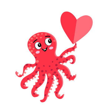 Bright festive love octopus with a heart