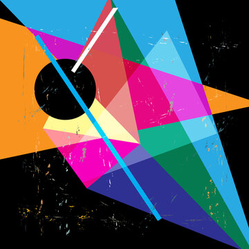 Vector illustration of multicolored abstraction with geometric shapes