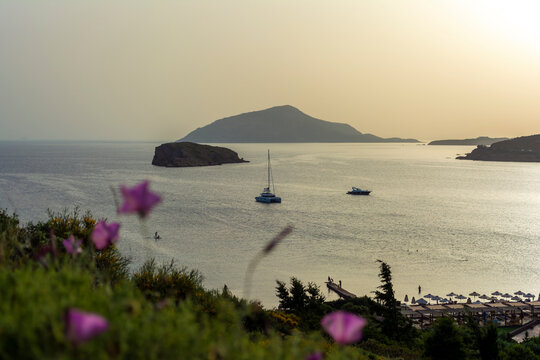 Beautiful sunset in athens region. Greece sea sunset