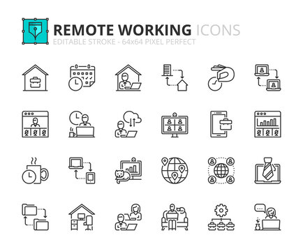 Simple set of outline icons about remote working. Business concepts