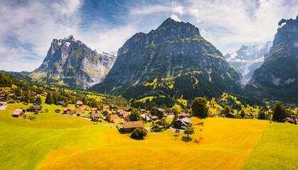 Wall Mural - Sunny view of alpine Eiger village. Location place of Grindelwald valley, Switzerland.