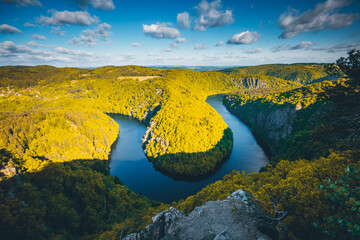 Wall Mural - Beautiful view of canyon Vltava river from Maj viewpoint. Location country of Czech Republic, Europe.
