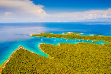 Wall Mural - Great aerial view of the azure lagoon on sunny day. Location Kvarner Gulf, Croatia, Europe.