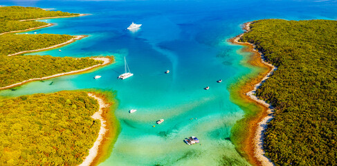 Wall Mural - Exotic aerial view of the azure lagoon on sunny day. Location Cres island, Croatia, Europe.
