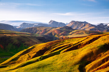 Wall Mural - Splendid icelandic landscape with colorful volcanic mountains in Valley national park Landmannalaugar, Iceland, Europe.