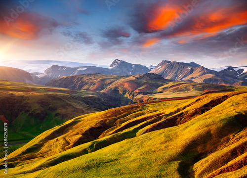 Wall mural Splendid icelandic landscape with colorful volcanic mountains in Valley national park Landmannalaugar, Iceland, Europe.