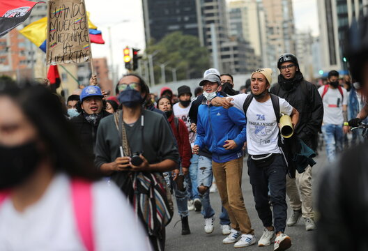 Protest during a national strike, in Bogota