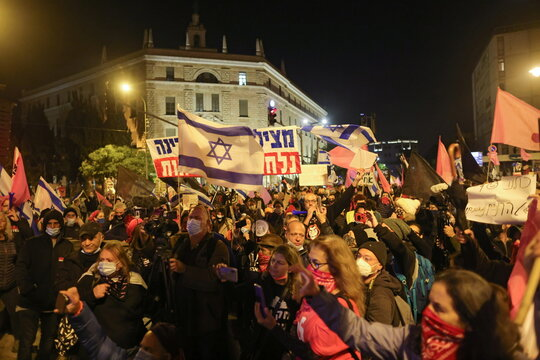 Demonstration against Israeli PM Netanyahu in Jerusalem