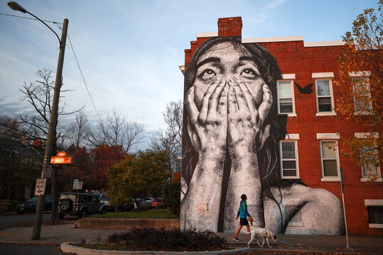 A person walks a dog past an art mural on the side of a residential building, in Richmond, Virginia