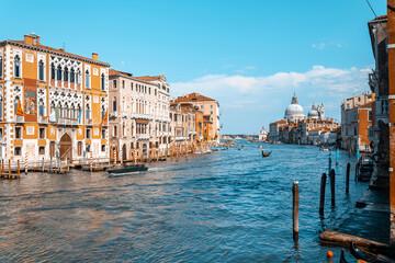 Italy, Venice. Old italian architecture with landmark bridge, romantic boat. Venezia. Grand canal for gondola in travel europe city.