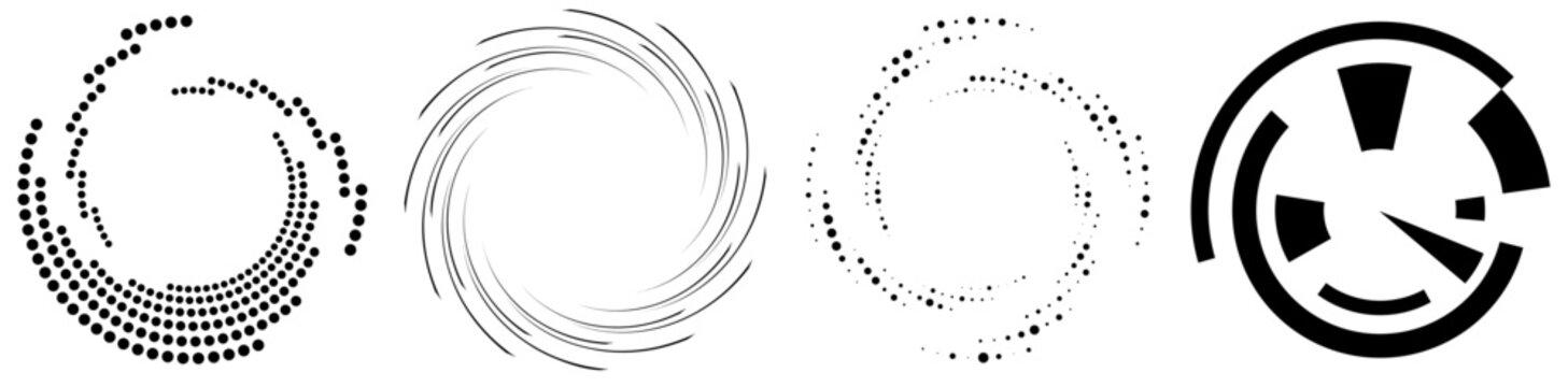 Spiral, swirl, twirl element set. Rotating circular shape Vector Illustration