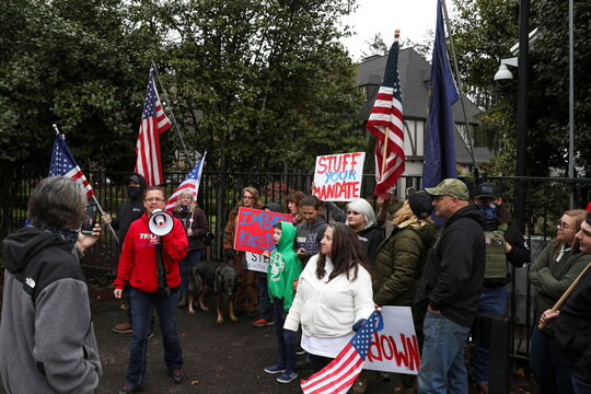Supporters of U.S. President Donald Trump protest in Salem