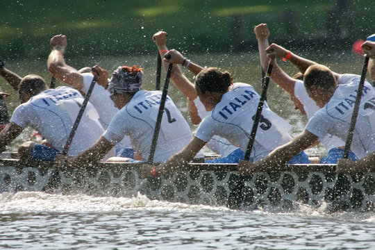 people racing a dragon boat