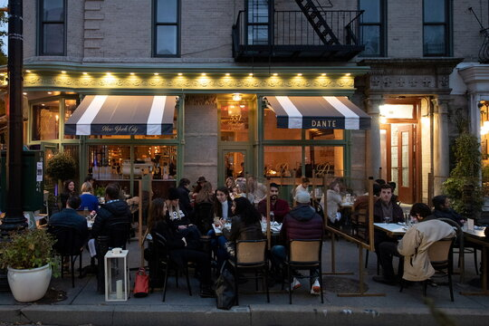 People enjoy outdoor dining as the spread of the coronavirus disease (COVID-19) continues, in New York City