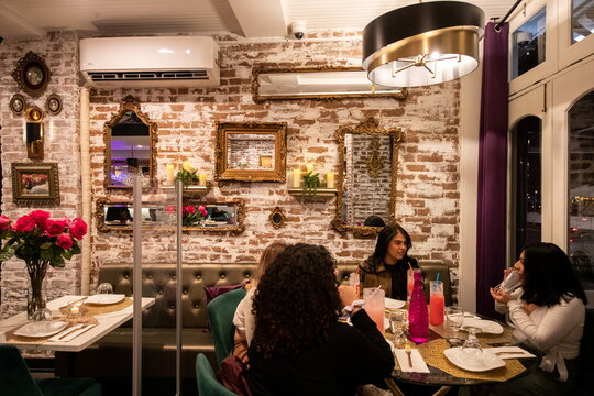 People dine in the Sveta restaurant as the spread of the coronavirus disease (COVID-19) continues, in New York City