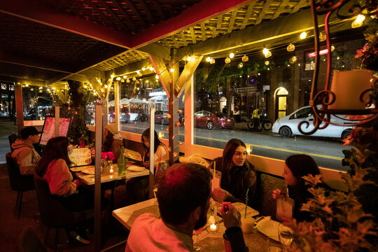 People enjoy outdoor dining at the Sveta restaurant as the spread of the coronavirus disease (COVID-19) continues, in New York City