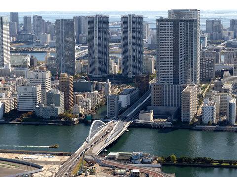 東京都 隅田川と築地大橋