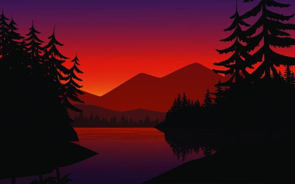 Sunset over the lake with mountain