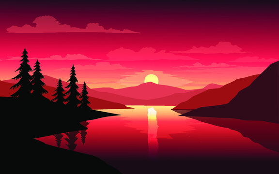Sunset over the mountains with river