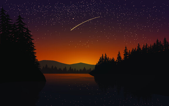Night over the lake with shooting star