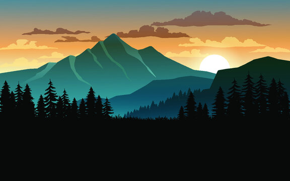 Sunset in mountains with forest