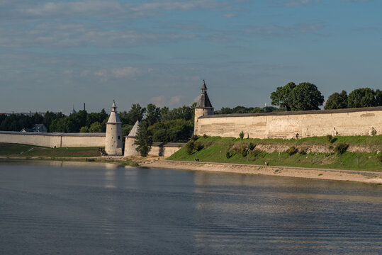 Pskov Kremlin towers and wall. View from river Velikaya. Pskov, Russia