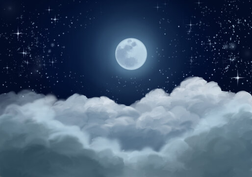 Starry night sky full moon over the clouds, oil painting illustration