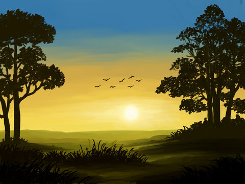sunset in the countryside, oil painting landscape