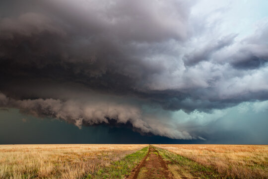 Storm over a field in Kansas