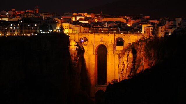 Ronda town with old bridge, Andalusia, Spain.