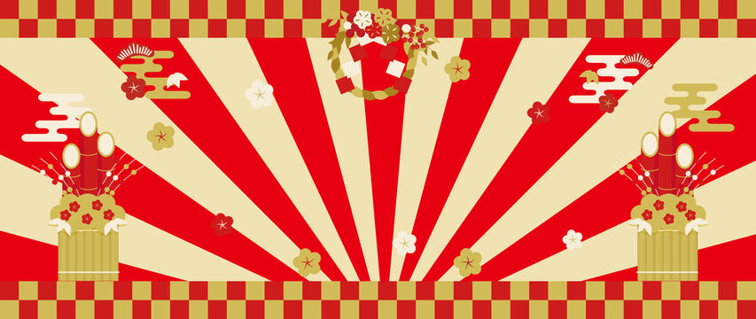 しめ飾り・門松・梅の花・放射状背景の祝賀イメージ