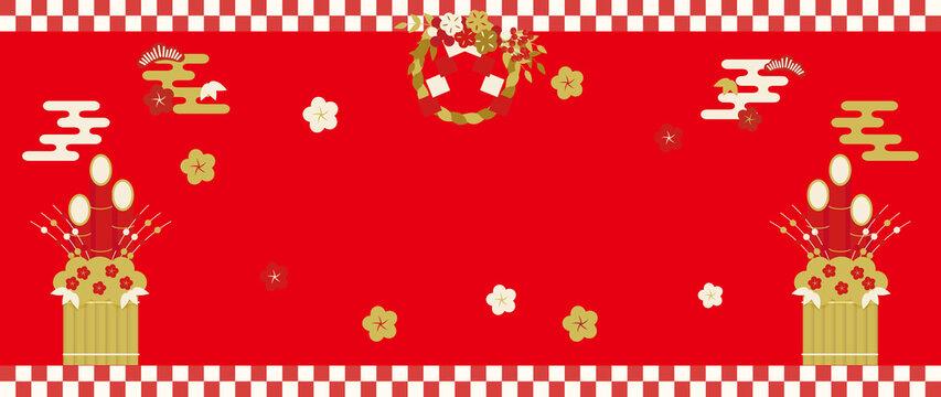 しめ飾り・門松・梅の花の祝賀背景イメージ