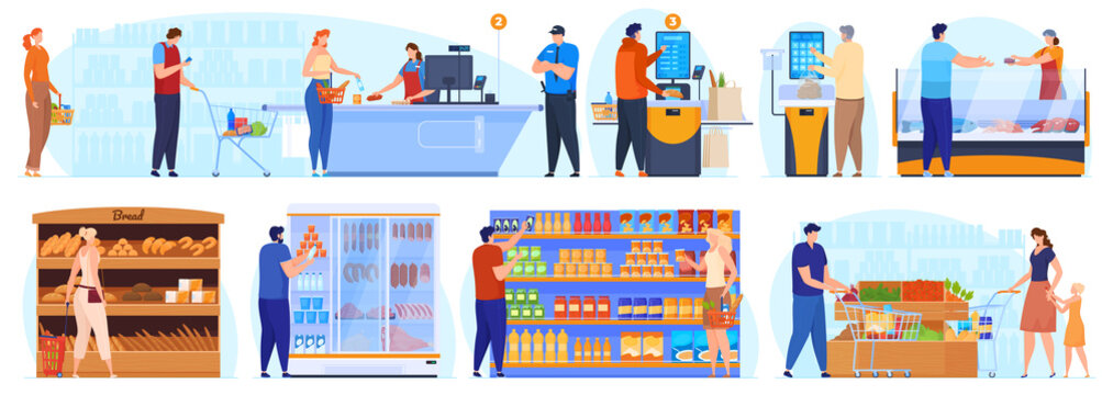 Supermarket, shopping. People stand in line at the checkout. People at the shelves in the supermarket choose the product, self-cooling. Vector illustration