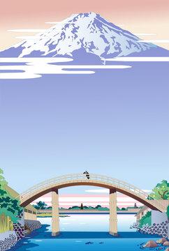 浮世絵風景、日本の古い橋と富士山