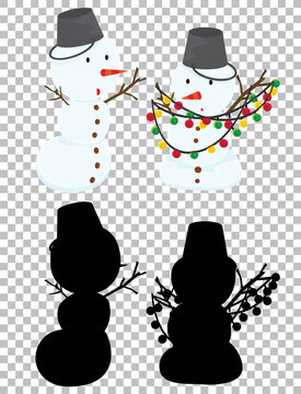 Cute snowman and its silhouette