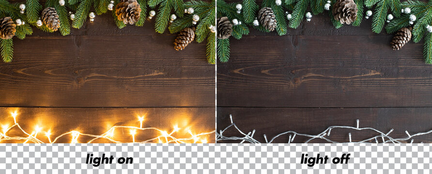 Flashing Christmas lights and Christmas decorations on wooden background