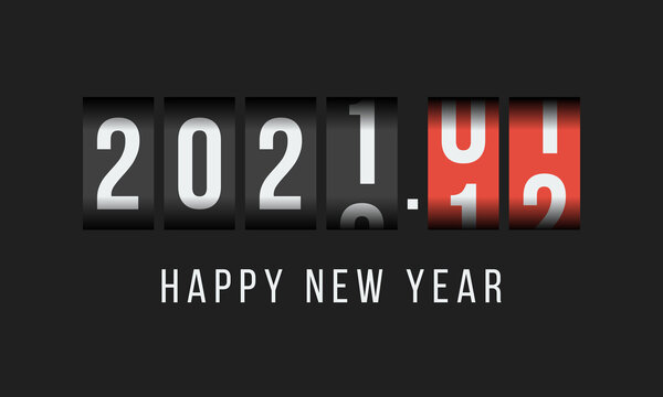 2021 happy new year, odometer styled greetings card