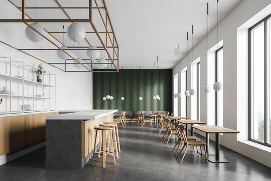 Modern white and green restaurant interior design