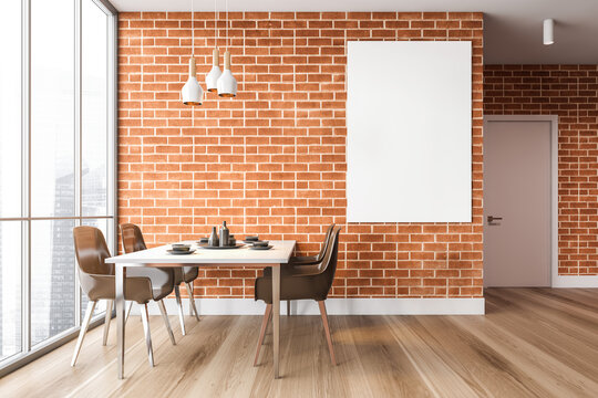 Modern brick dining room interior with poster