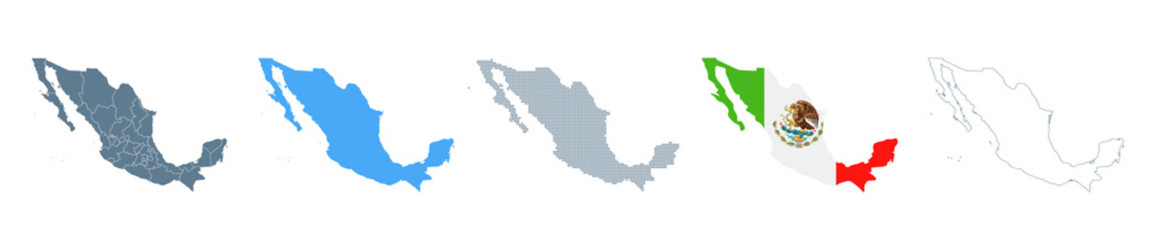 Mexico Map Set - Vector Solid, Contour, Regions, Flag, Pixels