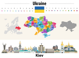 Fototapete - Ukraine regions (oblasts) with administrative divisions (raions) map. Flag of Ukraine. Kiev cityscape. Vector illustration