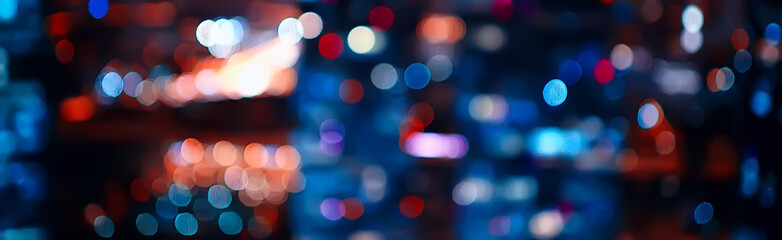 Custom blinds with your photo blurred bokeh city background / glare and glowing light in night city, modern beautiful bright background
