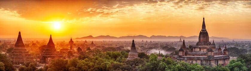 Panoramic sunrise over ancient city of Bagan in Myanmar