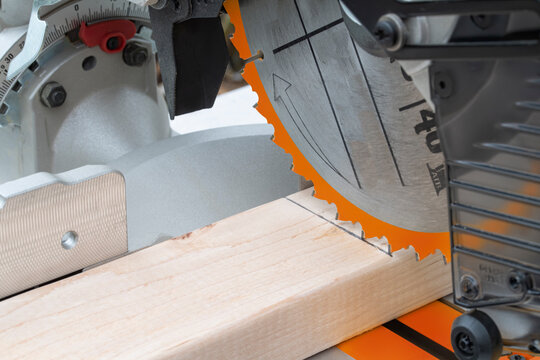 lining up the cut with a miter saw