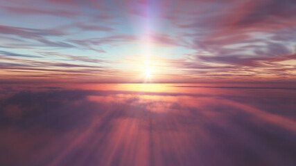fly above clouds sunset landscape