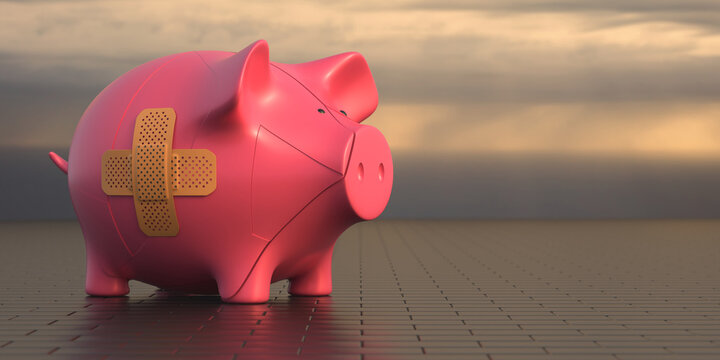 Piggy bank with a band aid on dark cloudscape background. Banking financial crisis. 3d illustration