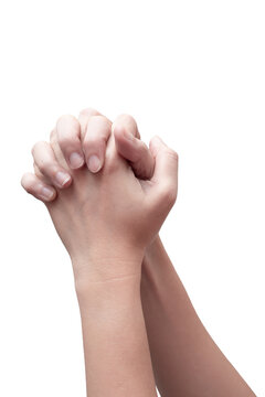 Praying hand sign, two woman's palm are clasped all together. hand language concept